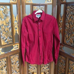 Red Button Up Dress Short Size M 15-15 1/2
